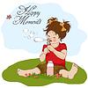 Забавные милые маленькая девочка, дует мыльные пузыри | Векторный клипарт