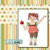 hübsche junge Mädchen empfiehlt gesunde Ernährung