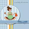 Babymitteilungskarte mit schwangeren Frau | Stock Vektrografik