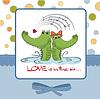 ID 3734808 | Crocodiles in love.Valentine `s Day-Karte | Stock Vektorgrafik | CLIPARTO