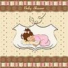 Baby-Geburtskarte mit kleinen Baby mit ihm spielen