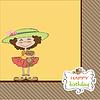 nette Geburtstags-Grußkarte mit Mädchen und ihr