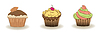 3er Set niedliche kleine Kuchen