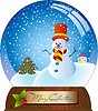 Рождественская сфера со снеговиком | Векторный клипарт