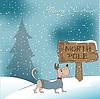 Weihnachtskarte mit glücklichen gekleidet Hund