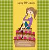 sexy junge Frau sitzt auf großen Kuchen