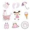 Элементов ребенка девушка, набор формате | Векторный клипарт