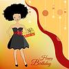 hübsche junge Frau mit Geschenk-Box