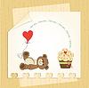 Милые карты любовь с плюшевым мишкой | Векторный клипарт