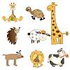 Забавные животные элементы настройки формата, спина | Векторный клипарт
