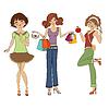 Три милые модные девушки | Векторный клипарт