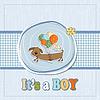Baby-Dusche-Karte mit langen Hund und Luftballons