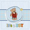 baby boy shoawer Karte mit Teddybär