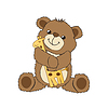 Teddybären spielt mit seinem Spielzeug, Giraffe