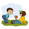 Маленький мальчик играл с маленькой девочкой | Векторный клипарт