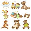 Смешные плюшевые медведи набор | Векторный клипарт