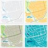 Set von 4 abstrakten Karten