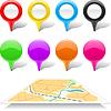 Set Landkartenmarkierungen und abstrakte Karte