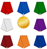 Satz von 8 farbige gemusterte Bänder und Medaille