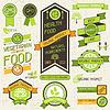 Bio-Lebensmittel Banner. Set von Etiketten und Aufkleber