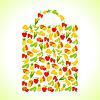 Obst und Gemüse in Form der Einkaufstasche