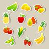 Set von Obst und Gemüse Aufkleber