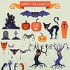Happy Halloween-Elemente und Symbole für Design