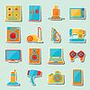Set von Haushaltsgeräten und Elektronik-Ikonen