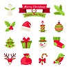 Merry Christmas and Happy New Year icons | Stock Vector Graphics