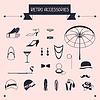 Retro persönliche Gegenstände, Symbole und Objekte