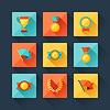 Trophy und Auszeichnungen Icons in flache Design-Stil