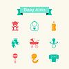 Neugeborenes Baby-Symbole in flache Design-Stil Set