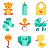 Neugeborenes Baby-Sachen Icons