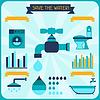 Wasser sparen. Poster mit Infografiken in flachen Stil