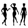 Silhouetten von schönen Pin up girls Stil der 1950er Jahre