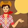 Card mit schönen Pin Up Cowgirl Stil der 1950er Jahre