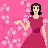 Tarjeta con pin up chica y flor de cerezo estilizada | Ilustración vectorial
