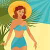 Card mit schönen pin up girl Stil der 1950er Jahre am Strand