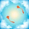 Sky Design, weißen Wolken, Sonne, fliegenden Drachen