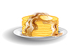 Stack of pancakes and syrup   Stock Vector Graphics