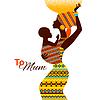 Schöne Silhouette der schwarze afrikanische Mutter und