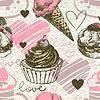 Nahtlose Muster mit Eis und Kuchen. Liebe