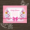 Süße Baby-Dusche Einladung mit doodle Baby-Spielzeug
