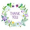 Danke, mit Aquarell blumiges Bouquet.