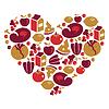 Gesundes Leben - Herzform mit Lebensmittel-Symbole