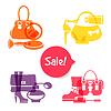 Satz von Mode-Shopping-Symbole. Sale elegant