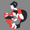 Schöne Silhouette von Mutter und Kind Lesen