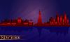 Nowy Jork w nocy sylwetka szczegółowe panoramę miasta | Stock Vector Graphics