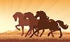 Pferde im Feld auf Sonnenuntergang Hintergrund Silhouette | Stock Vektrografik