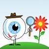 Menschliche Auge in Hut mit Lupe in der Hand | Stock Illustration